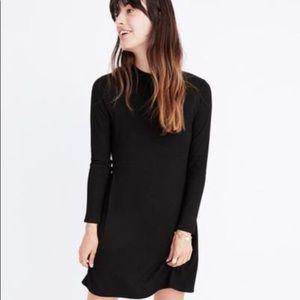 Madewell Cityblock Mock Neck Dress Large Black